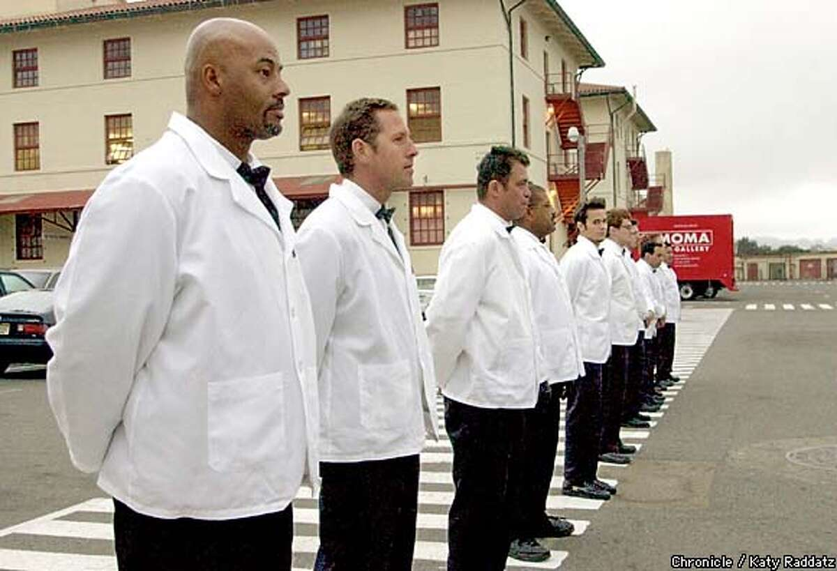 Valets line up at Fort Mason. Chronicle photo by Katy Raddatz