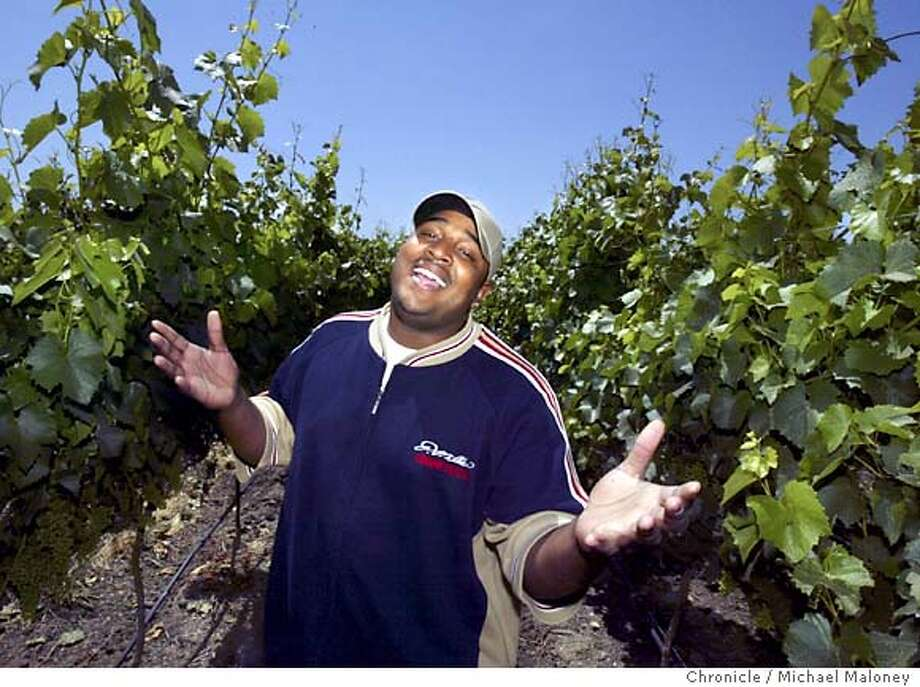"GIMME_015_MJM.jpg  Singer Donnie Williams sings in a Livermore vineyard across the street from his apartment.  Williams is one of the singers competing in the local KTVU reality show ""Gimme the Mike."" Williams was in the final 32 in ""American Idol,"" but was sent home early after he was arrested under suspicion of driving drunk after a victory party. He pleaded to a lesser charge and may return to ""Idol,"" but first he'll be heard on Saturday when ""Gimme the Mike"" debuts. Photo by Michael Maloney / San Francisco Chronicle Photo: Michael Maloney"