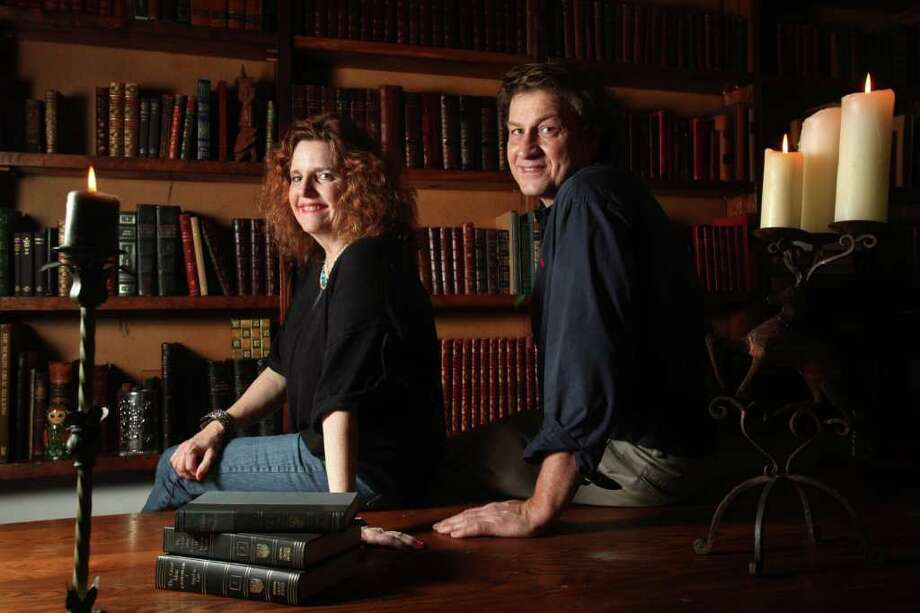 Ann Becker and husband Dan Becker, owners of Becker's Books, are in a special room housing leather bound books.  The store opened in 1993, and offers 60 categories to browse through. Photo: Mayra Beltran / © 2012 Houston Chronicle