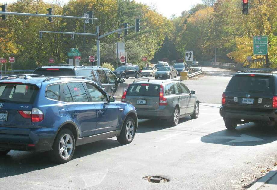 The Exit 5 intersection on East Putnam Avenue is a busy place for motorists, as traffic from Interstate 95, East Putnam Avenue, the Riverside Commons strip mall, a McDonald's restaurant and residential traffic in behind the businesses meet. Photo: Greenwich Time File
