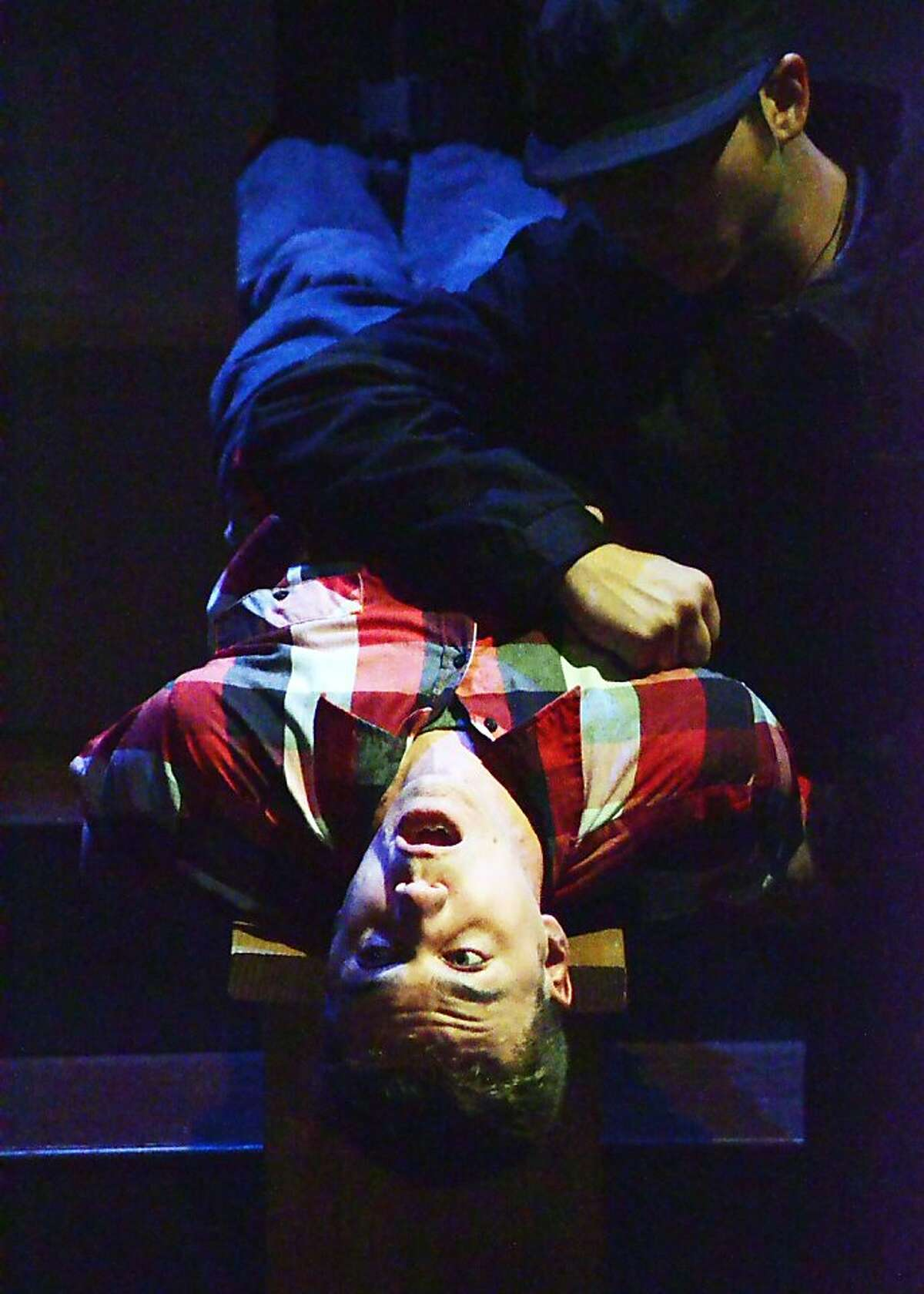"""Marcus (Daniel Petzold) is waterboarded -- er, undergoes enhanced interrogation -- in Josh Costello's """"Little Brother"""" at Custom Made Theatre"""