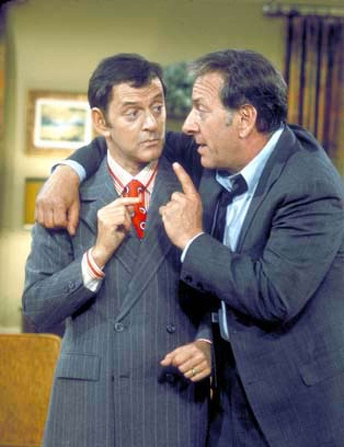 """Tony Randall (left) and Jack Klugman co-starred in the ABC comedy television series """"The Odd Couple"""" in the 1970s."""