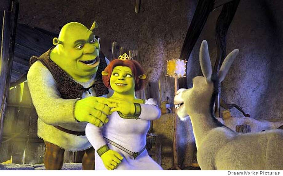 Newlyweds Shrek (MIKE MYERS) and Princess Fiona (CAMERON DIAZ) come home from their honeymoon and are greeted by Donkey (EDDIE MURPHY) who has been anxiously awaiting their return in DreamWorks Pictures� computer-animated comedy SHREK 2.
