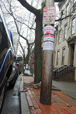 No parking signs make it even harder to find parking spots along Lancaster St. Friday Jan. 27, 2012 in Albany, N.Y. Albany's Common Council is ready to schedule a vote on the creation of the long-desired parking permit system. (Lori Van Buren / Times Union) Photo: Lori Van Buren