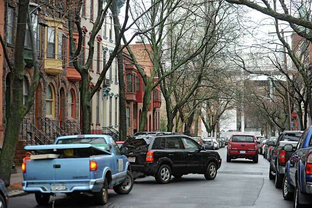 A car parks along Lancaster St. Friday Jan. 27, 2012 in Albany, N.Y.  Albany's Common Council is ready to schedule a vote on the creation of the long-desired parking permit system. (Lori Van Buren / Times Union) Photo: Lori Van Buren