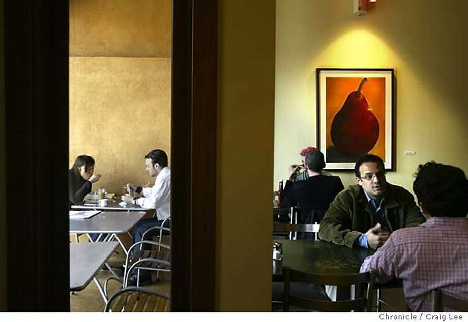 A restaurant called Herbivore, at 531 Divisadero street, for restaurant review. Photo of the interior (right) and the outdoor seating you can see through the window (left).  Event on 5/5/04 in San Francisco. Craig Lee / The Chronicle Photo: Craig Lee