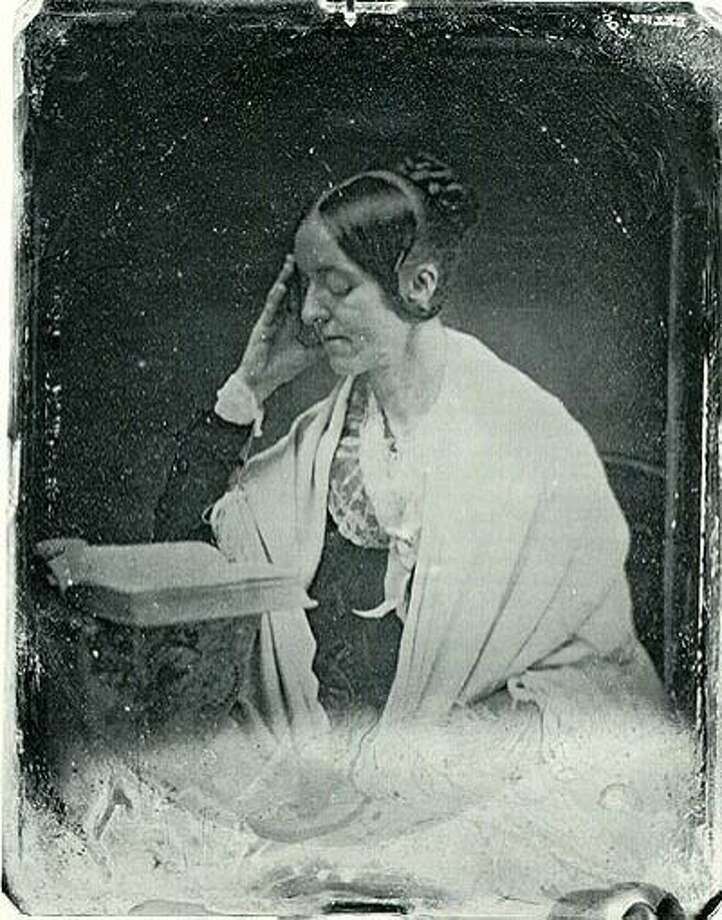 Daguerreotype of Margaret Fuller (1810-1850). The original daguerreotype, which has been lost, dates to July 1846 and was taken by John Plumbe. It was taken one month before she left the United States for Europe on assignment for the New York Tribune. It is the only known surviving photo of Fuller. A copy was made in the early 1850s by Southworth and Hawes and is held at the Museum of Fine Arts in Boston, Massachusetts. Photo: John Plumbe
