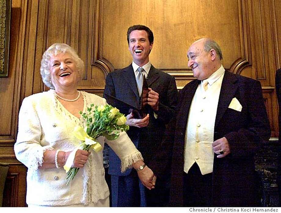 CHRISTINA KOCI HERNANDEZ/CHRONICLE  � Laughter breaks-out during the ceremony as the Count tries to understand the vows. The bride is Janina Dunin Wasowicz. The groom is Count Wlodzimierz Lech Goriszowski. The bride-to-be, a Mill Valley woman who the 75-year-old groom thinks is a mere 60, was in Poland on vacation last summer when she met the Count at a spa. A whirlwind romance, & months later he announces to friends that she had conquered something he had been guarding his entire life - his heart.... Photo: CHRISTINA KOCI HERNANDEZ