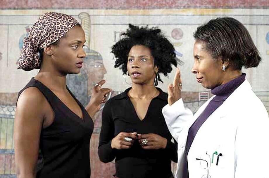 "MAGIC10  Tonia Jackson as Kalima Davis, Crystal Noelle as Claire Reid , and Jaxy Boyd as Iris Preston in ""Relativity."""