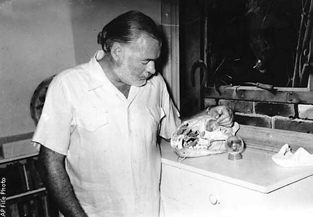American author Ernest Hemingway looks at the skull of a lion in the library of his home at San Francisco de Paula, Cuba on Aug. 24, 1950. He shot the wild animal on a hunting trip in Africa. The painting of a fresh killed chicken on the wall is by Dutch artist R. Hynckes. (AP Photo) Photo: HANDOUT