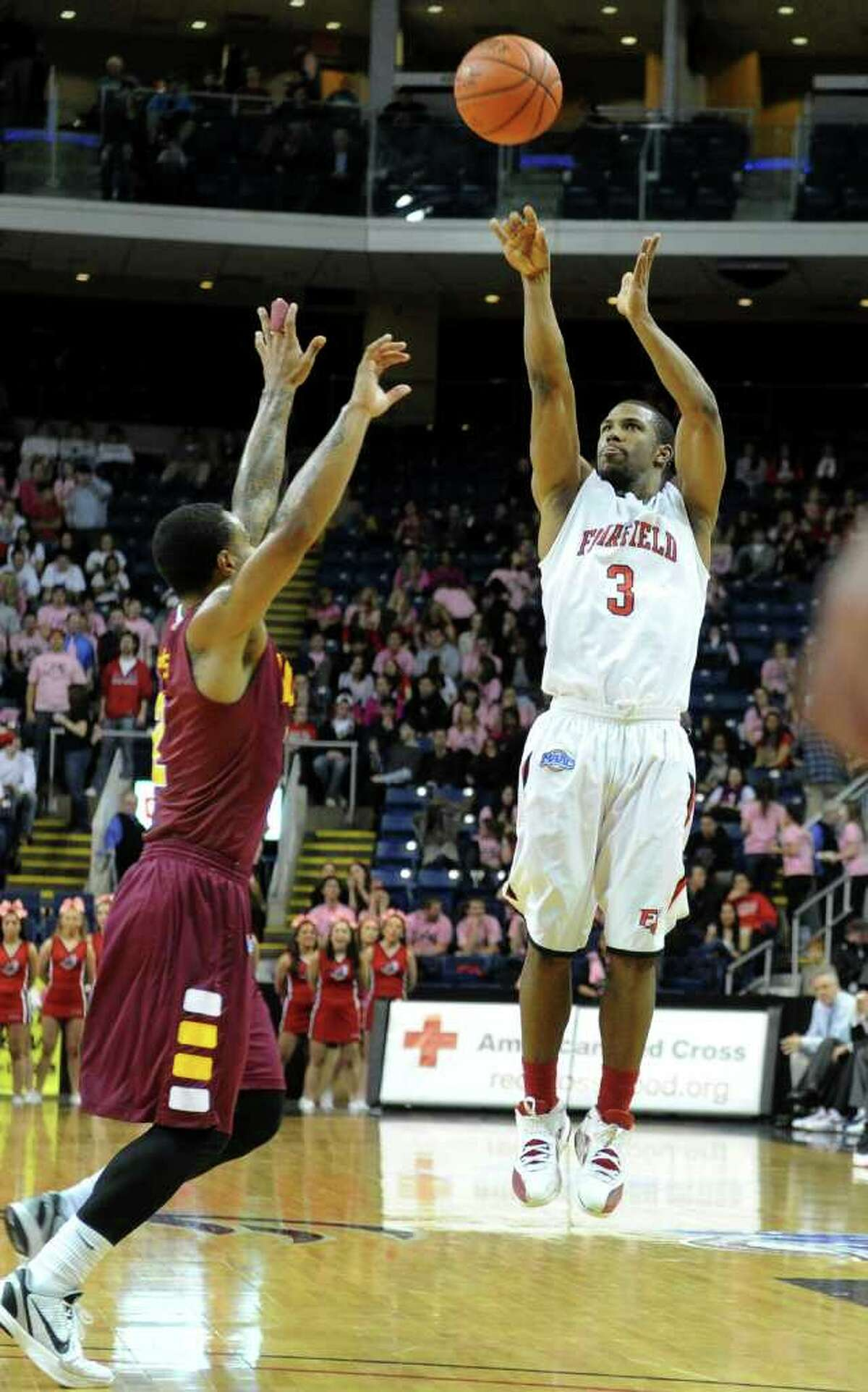 Highlights from men's basketball action between Fairfield University and Iona College at the Webster Bank Arena in Bridgeport, Conn. on Friday January 27, 2012. Fairfield University's #3 Derek Needham.
