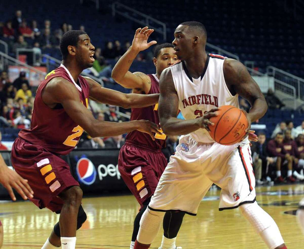 Highlights from men's basketball action between Fairfield University and Iona College at the Webster Bank Arena in Bridgeport, Conn. on Friday January 27, 2012. Fairfield travels to Iona in a battle for first place in the MAAC tonight at 9
