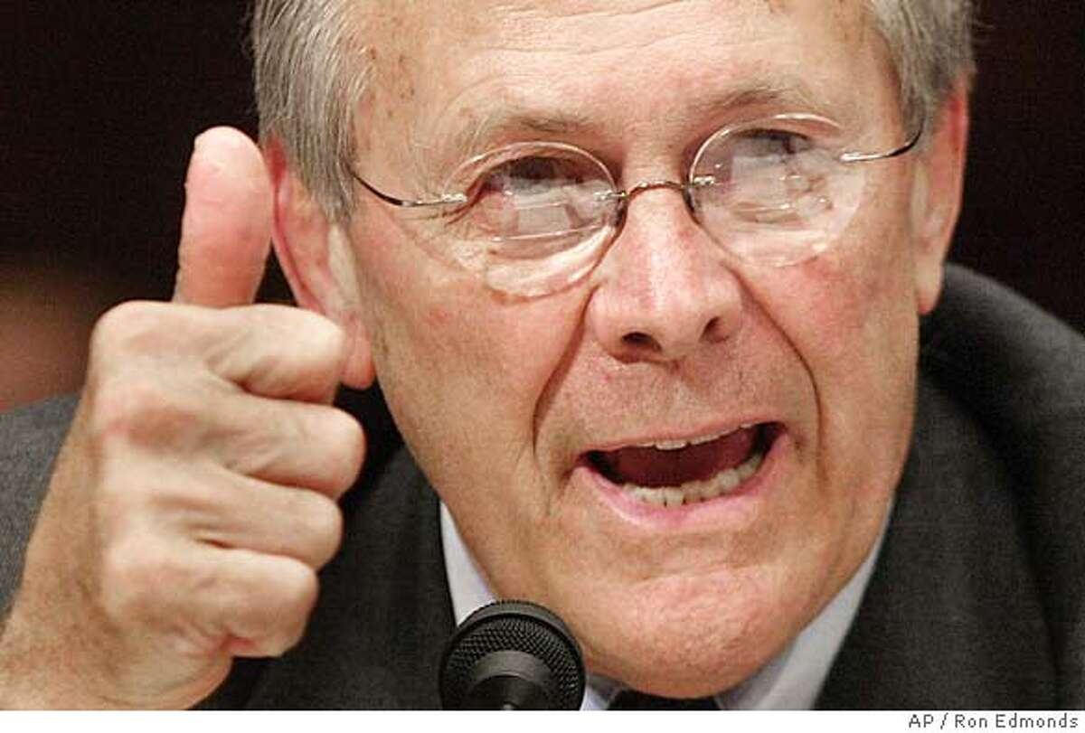 Defense Secretary Donald H. Rumsfeld testifies on Capitol Hill Friday, May 7, 2004, before the Senate Armed Services Committee hearing on prisoner abuse in Iraq. (AP Photo/Ron Edmonds)