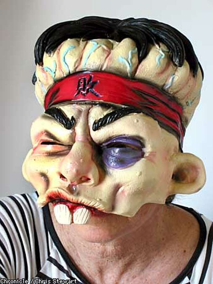 """Kung Fool"" costume mask. Chronicle Photo by Chris Stewart Photo: CHRIS STEWART"