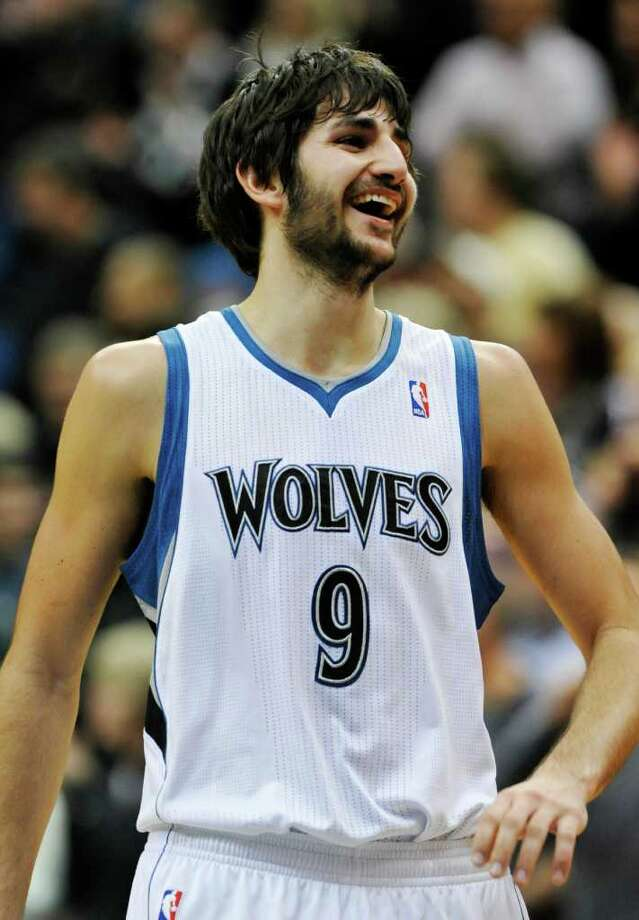 Minnesota Timberwolves' Ricky Rubio, of Spain, celebrates as the Timberwolves defeated the San Antonio Spurs 87-79 in an NBA basketball game, Friday, Jan. 27, 2012, in Minneapolis. (AP Photo/Jim Mone) Photo: Associated Press