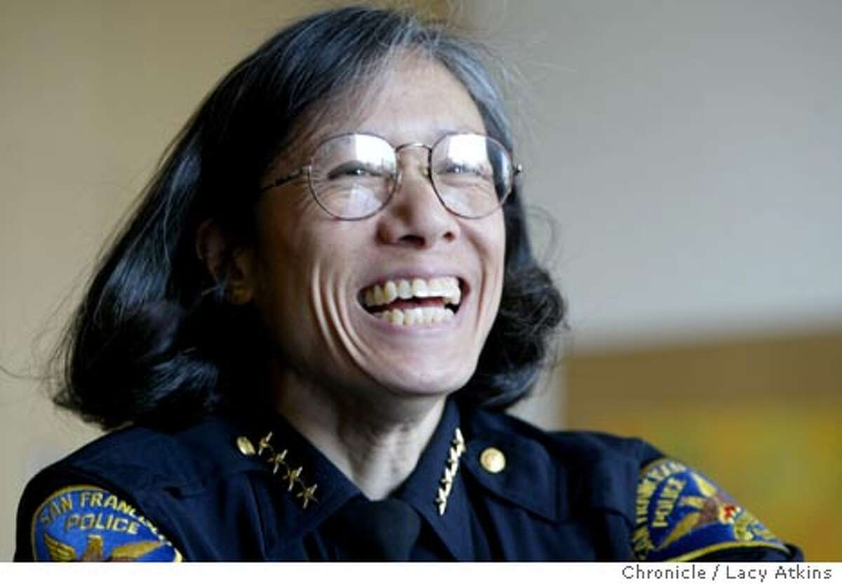 San Francisco's new police chief Heather Fong, during an interview in her office at the Hall of Justice, Wed. April.28 2004, in San Francisco. LACY ATKINS / The Chronicle