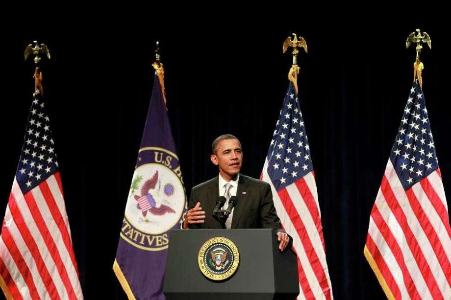 President Barack Obama speaks at the House Democratic Issues Conference, Friday, Jan. 27, 2012, in Cambridge, Md. (AP Photo/Haraz N. Ghanbari) Photo: Haraz N. Ghanbari