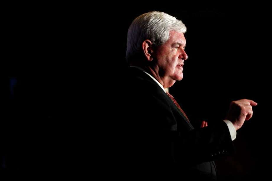 Republican presidential candidate, former House Speaker Newt Gingrich speaks after receiving an endorsement from national Hispanic leaders at the Doral Golf Resort and Spa, Friday, Jan. 27, 2012, in Miami, Fla. (AP Photo/Matt Rourke) Photo: Matt Rourke