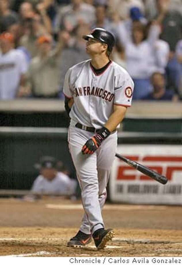 Giants' catcher, A.J. Pierzynski, makes a face after striking out to end the game against the Houston Astros, losing 10-2. The San Francisco Giants played the Houston Astros at Minute Maid Park in Houston, Tx., on Wednesday, April 7, 2004. Barry Bonds is just one homerun from tying his godfather, Willie Mays', career homerun record.  Event on 4/7/04 in Houston, TX. Photo by Carlos Avila Gonzalez / The San Francisco Chronicle Photo: Carlos Avila Gonzalez
