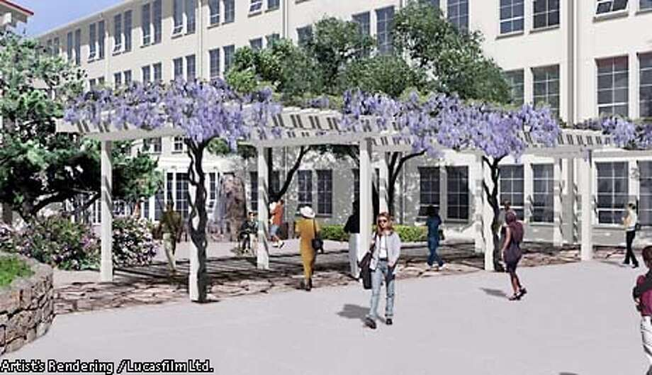 Artist's rendering of the view at the entrance to the main lobby at Building Two at Letterman Digital Arts Center.  HANDOUT PHOTO