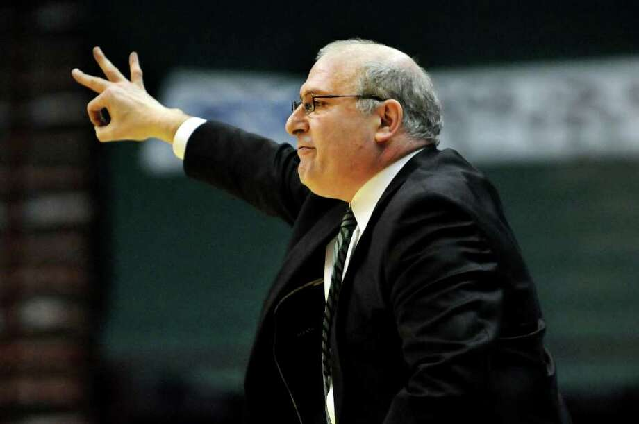 Siena's coach Mitch Buonaguro communicates with his team during their basketball game against Marist on Friday, Jan. 27, 2012, at Times Union Center in Albany, N.Y. (Cindy Schultz / Times Union) Photo: Cindy Schultz / 00015373J
