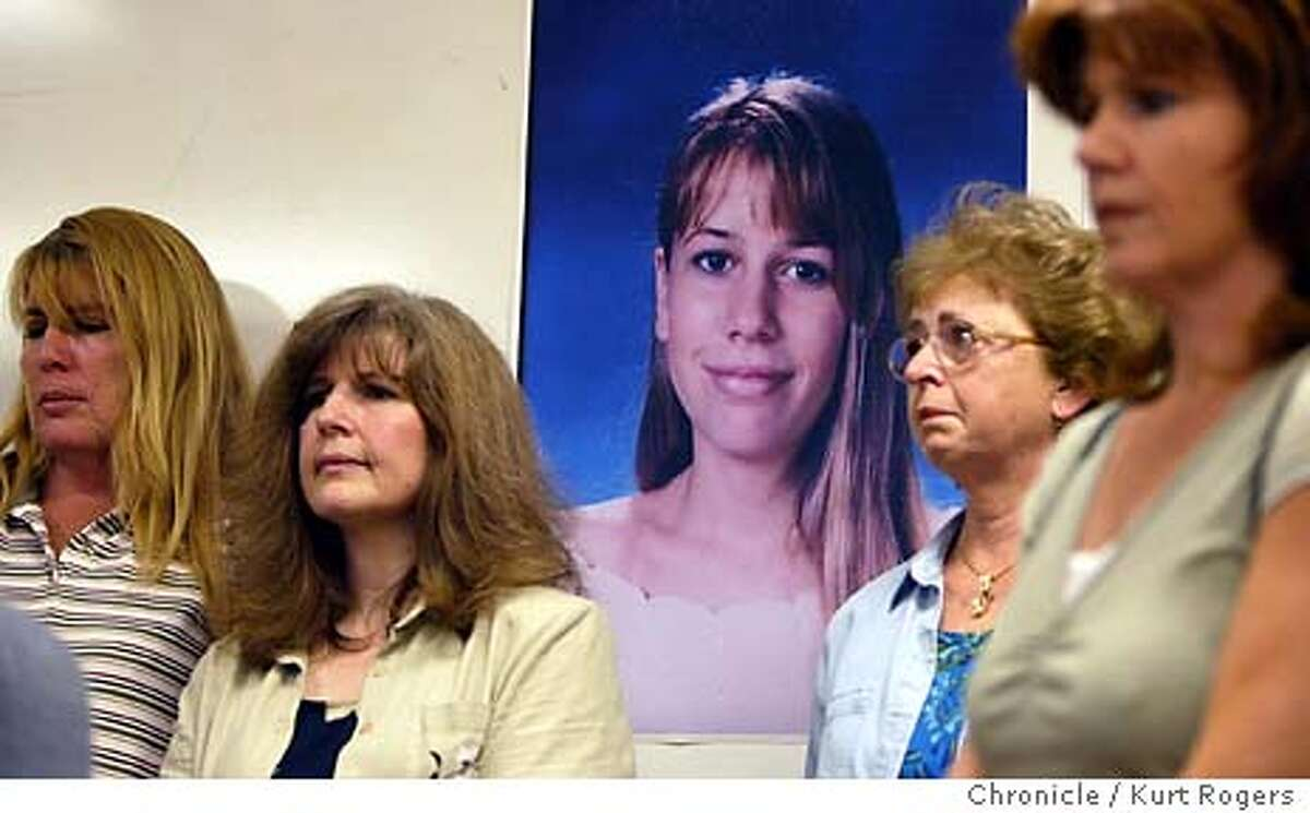 family members listen to the perss conference to announce the higer reward for information leading to an arrest in the murder of Jessica McHenry. Rosanne McHenry Aunt,Sue Silliman Aunt , Pauline Charpentier Grandmother ansd Lisa Pomeroy Aunt . Alameda County sheriff's investigators announce a new lede in the unsolved murder of Jessica McHenry, 14, whose burning body was found along a rural road near Livermore in 1991. A poster-sized picture of Jessica will be displayed, as members of her family gather around it and the Carole Sund/Carrington Memorial Reward Foundation announces a $5,000 reward for information leading to an arrest and conviction. 4/27/04 in San Leandro,CA. Kurt Rogers/The Chronicle