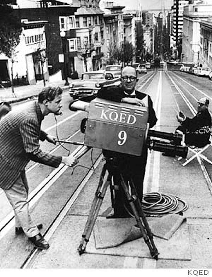 Cameraman, founding KQED station manager �from 1953 to 1969 Jim Day and his look-alike, Jon Rice, �station programmer from 1953 to 1978 . film on the California Street cable car tracks