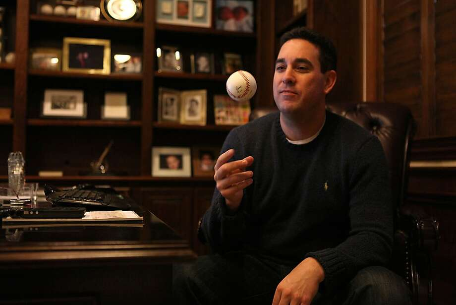 Baseball agent Matt Sosnick at his home office in Danville, Calif., talking with his colleagues on Thursday, December 15, 2011. Photo: Liz Hafalia, The Chronicle