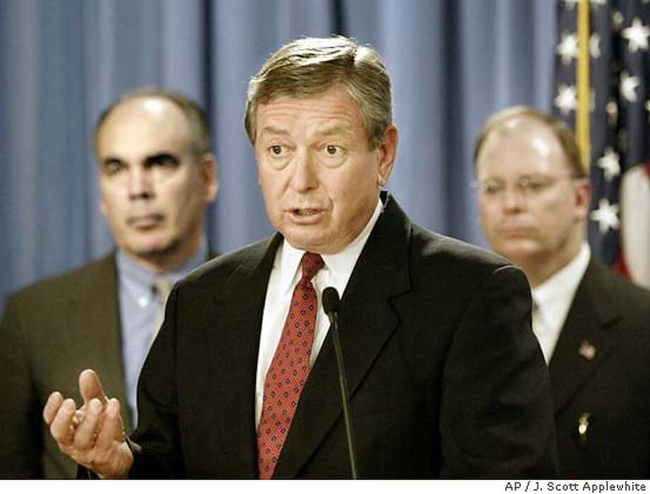 Attorney General John Ashcroft, center, announces a federal indictment of two San Francisco area business executives and two athletic trainers, charging them with illegally providing anabolic steroids, human growth hormone, and other drugs to baseball, football and track stars, during a press conference at the Justice Department in Washington, Thursday, Feb. 12, 2004. He is joined by San Mateo County Sheriff Don Horsley, left, and U.S. Attorney for the Northern District of California Kevin Ryan, right,who, worked on the case. (AP Photo/J. Scott Applewhite) U.S. Attorney General John Ashcroft, flanked by San Mateo County Sheriff Don Horsley (left) and Kevin Ryan, U.S. Attorney for the Northern District of California, announces the federal indictments in the BALCO case. U.S. Attorney General John Ashcroft, flanked by San Mateo County Sheriff Don Horsley (left) and Kevin Ryan, U.S. Attorney for the Northern District of California, announces the federal indictments in the BALCO case. Photo: J. SCOTT APPLEWHITE