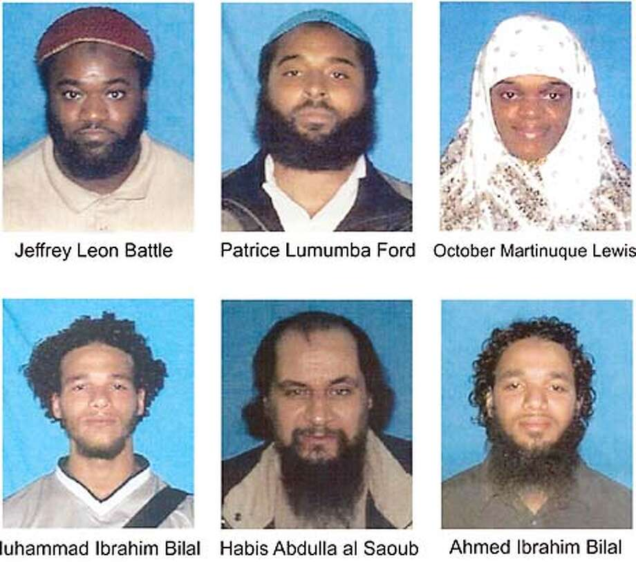'Suspected terrorist cell': Federal officials said they had broken up a terrorist cell in Portland, Ore., that consisted of Jeffrey Leon Battle, arrested in Portland; Patrice Lumumba Ford, arrested in Portland; October Martinique Lewis, arrested in Portland; Muhammad Ibrahim Bilal, arrested in Michigan; Habis Abdulla al Saoub, fugitive overseas; Ahmed Ibrahim Bilal, fugitive overseas.