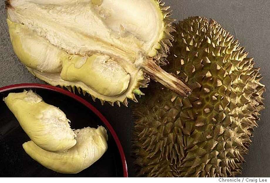 A fruit from Thailand called a Durian. Called the king of fruits in that country.  CRAIG LEE / The Chronicle Photo: CRAIG LEE