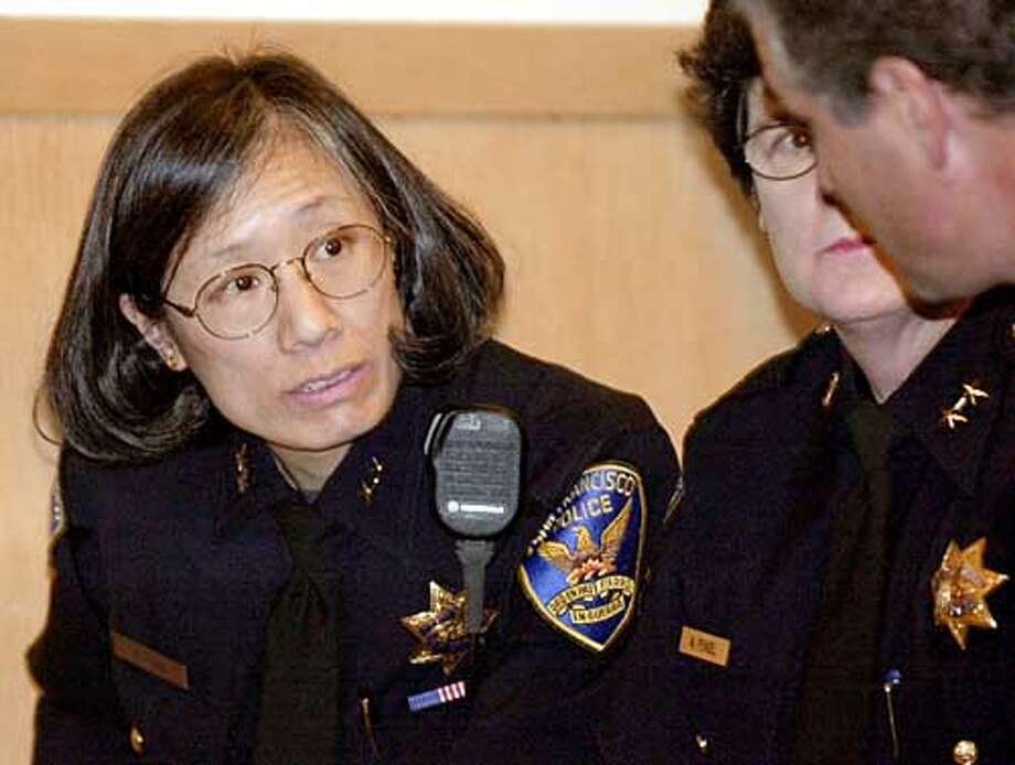 ** FILE ** San Francisco Police Deputy Chief Heather Fong, left, attends a police commission hearing in San Francisco in this March 3, 2003 file photo. Fong got the official job of San Francisco police chief Monday, April 12, 2004 earning her stripes as the first woman to lead the San Francisco Police Department. (AP Photo/Paul Sakuma, file) ProductNameChronicle ProductNameChronicle Police Chief Heather Fong ProductNameChronicle ProductNameChronicle Police Chief Heather Fong ProductNameChronicle Photo: PAUL SAKUMA