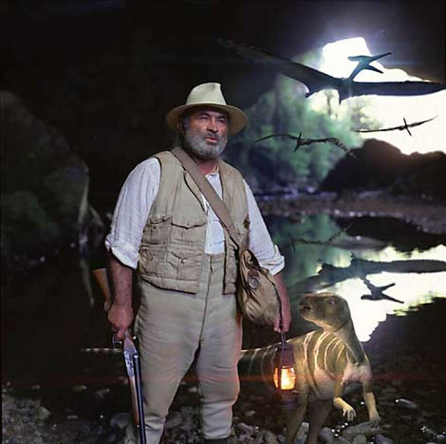 "Bob Hoskins and a dinosaur in A&E's ""The Lost World.''"