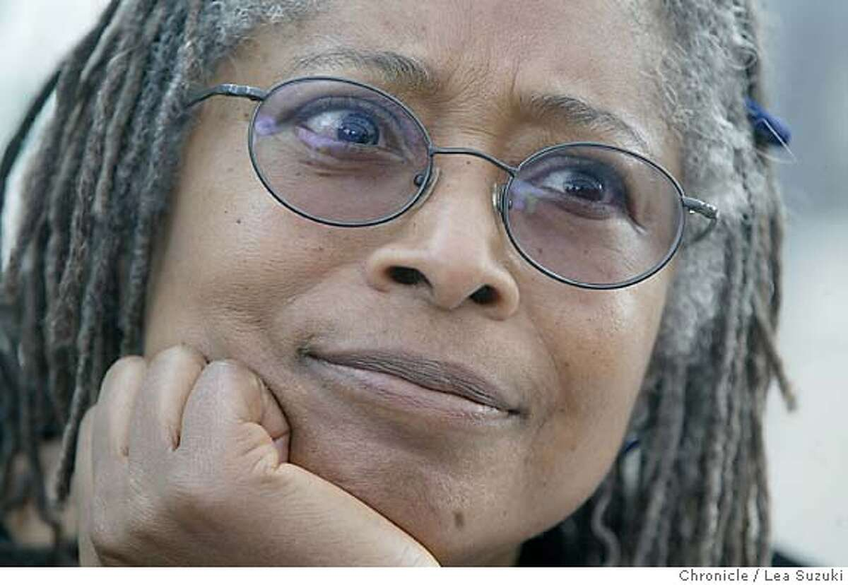 PROTEST85-C-16FEB03-MT-LS ---- Alice Walker taking questions after she spoke during the rally at Civic Center Plaza. Photo By Lea Suzuki/San Francisco Chronicle