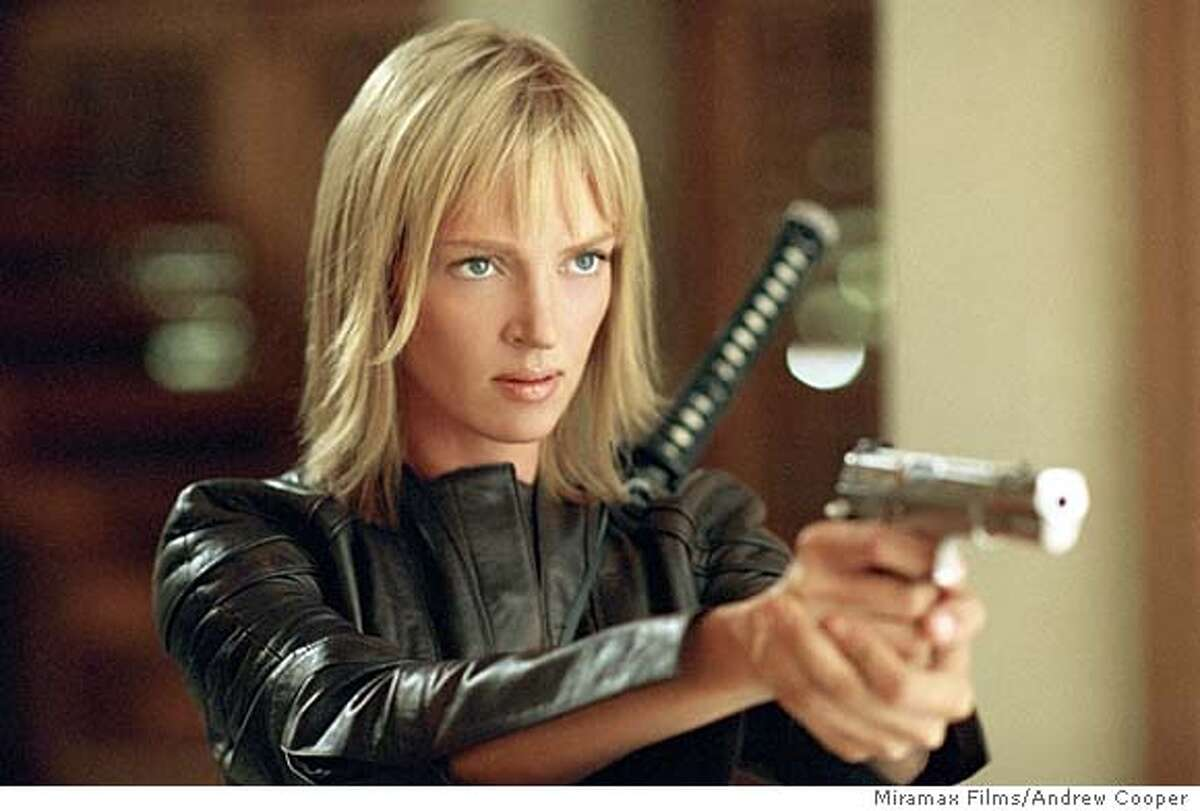 """** ADVANCE FOR THURSDAY APRIL15 **Actress Uma Thurman appears in a scene from Quentin Tarantino's """"Kill Bill: VOL. 2,"""" in this undated promotional photo. (AP Photo/Andrew Cooper, Miramax Films) Uma Thurman holds a serious grudge in Kill Bill: Vol. 2."""