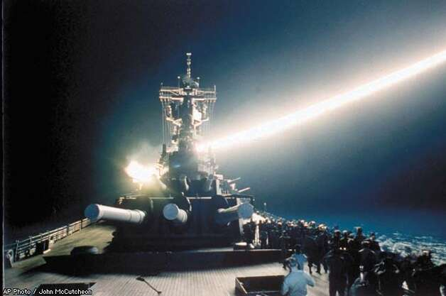 "FILE -- In this January 1991 file photo, a Tomahawk cruise missile lights up the night sky as it is fired from the USS Wisconsin during the Persian Gulf War. Retaliating 13 days after the deadly embassy bombings in East Africa, U.S. forces launched cruise missile strikes against alleged terrorist camps in Afghanistan and a chemical plant in Sudan on Thursday Aug. 20, 1998. ""Our target was terror,'' President Clinton declared. (AP Photo/John McCutcheon) Photo: JOHN MCCUTCHEON"