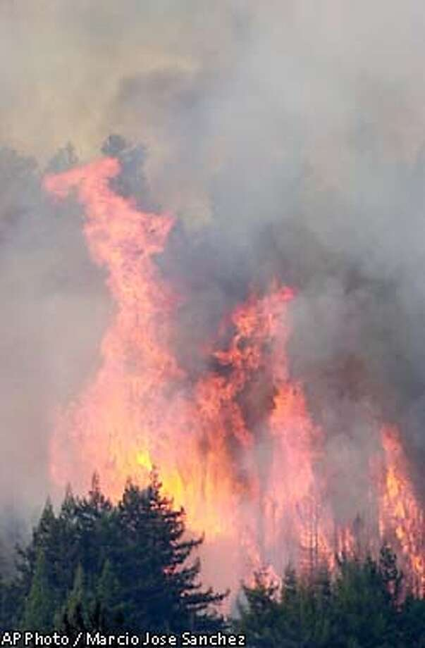 A wildfire burns on the Santa Cruz Mountains near Morgan Hill, Calif., Tuesday, Sept., 24, 2002. Dry brush and hot weather helped spread the fire, which has grown to 1,600 acres, destroyed two outbuildings and is threatening at least 50 rural homes on the east side of the Santa Cruz Mountains. (AP Photo/Marcio Jose Sanchez) Photo: MARCIO JOSE SANCHEZ