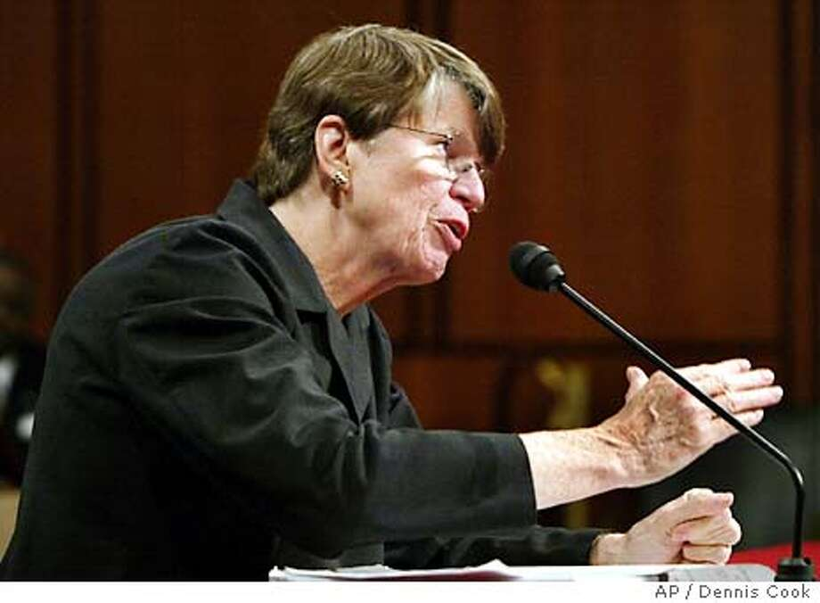 Former U.S. Attorney General Janet Reno testifies before the commission investigating the Sept. 11 attacks Tuesday, April 13, 2004, on Capitol Hill in Washington. (AP Photo/Charlie Dharapak) Photo: CHARLIE DHARAPAK