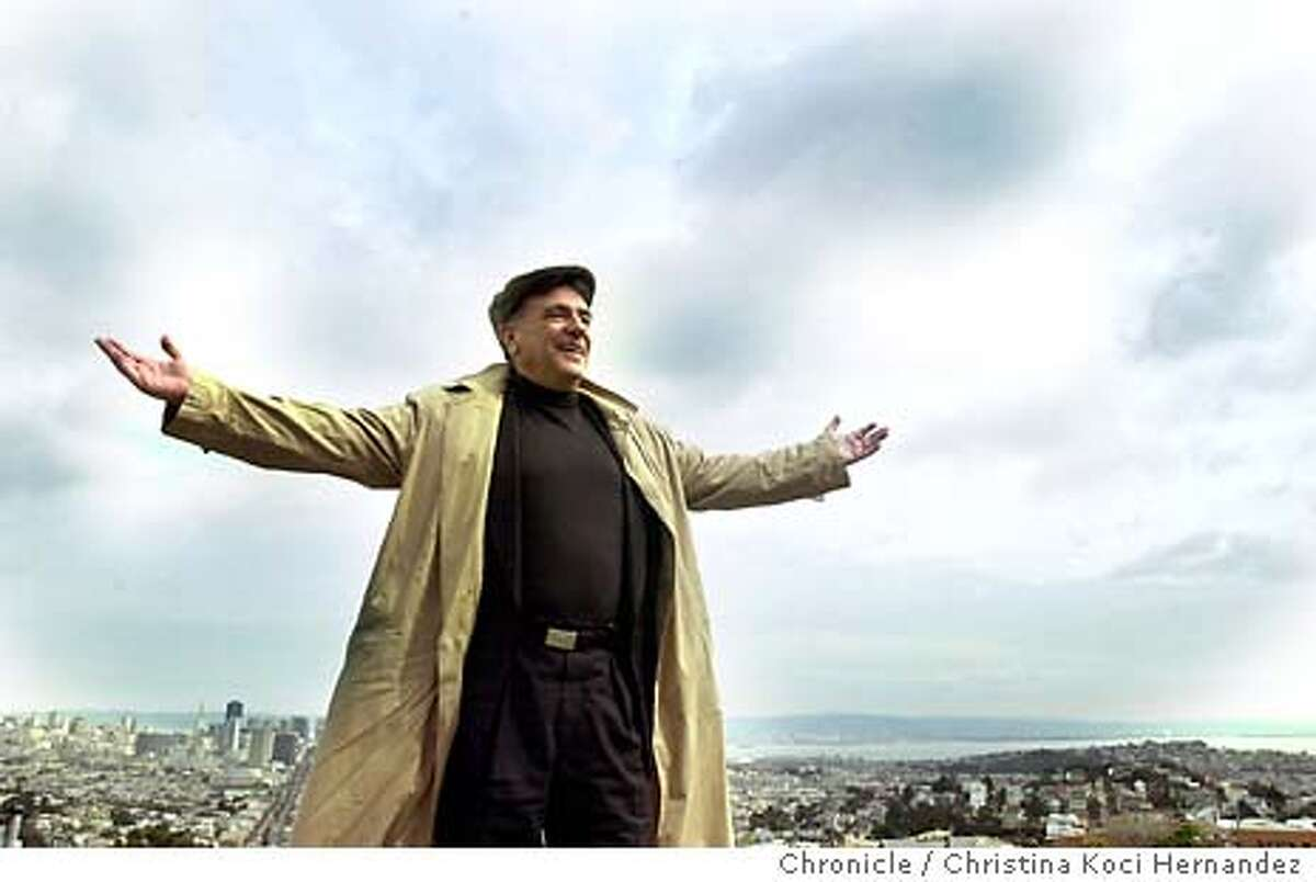 """CHRISTINA KOCI HERNANDEZ/CHRONICLE Houskeeper on top of his apartment's roof, overlooking SF.Lee Houskeeper, an old fashion """"flak"""" or as he likes to call himself, """"press agent,"""" working at home and at a booth at John's Grill, on Ellis in SF.."""
