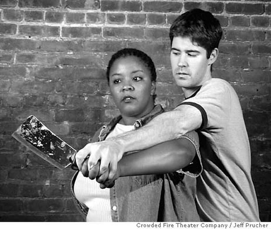 Slaughter City by Naomi Wallace  Crowded Fire Theater Company / Jeff Prucher  April 8 � May 8  Press contact: 415-255-7846  Mollena Williams as Roach and John Atwood as Brandon [for both photographs]  Photo by Jeff Prucher