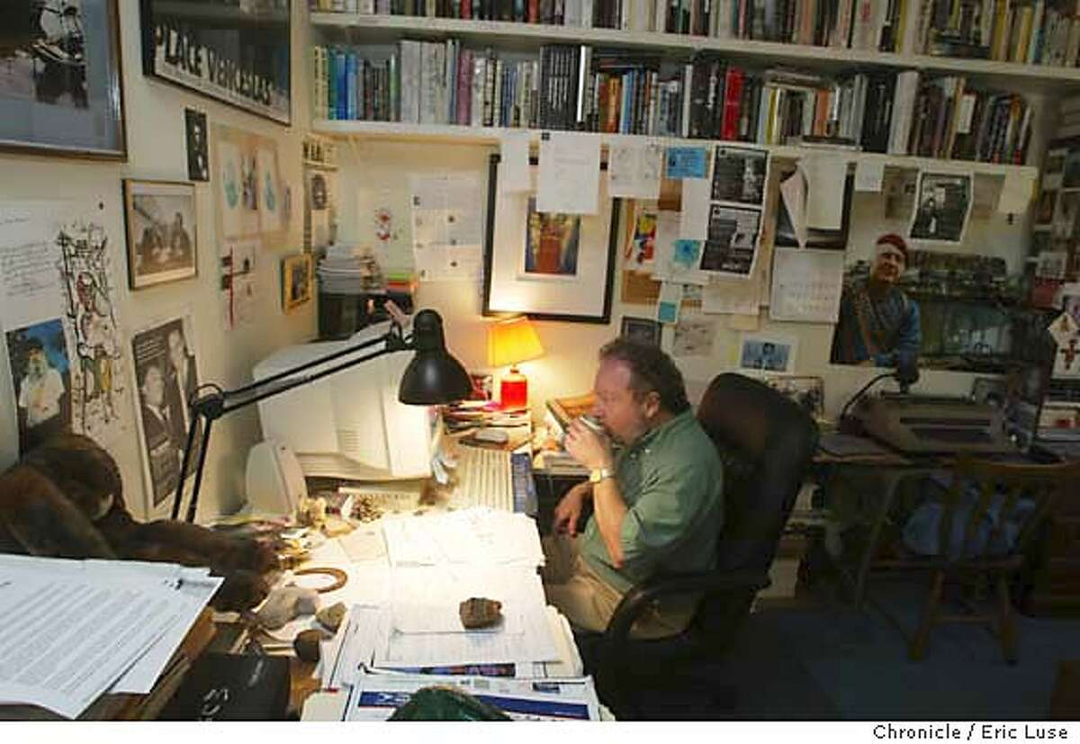 nicosia_071_el..JPG Nicosia in his home office. Living story about Marin historian and poet Gerald Nicosia who has been the center of a media storm the last few weeks because (A) 20,000 pages of dedacted FBI files he obtained for his Vietnam Vets book,