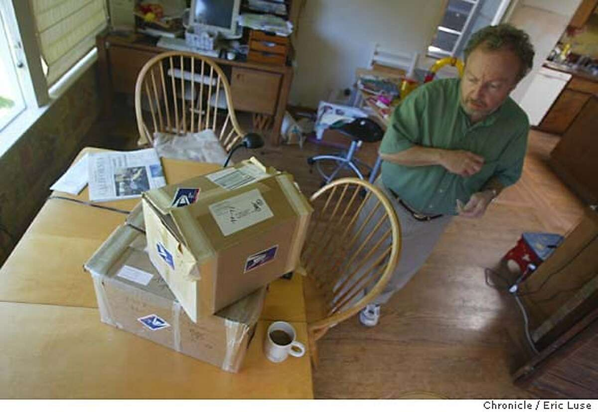 nicosia_117_el..JPG Nicosia has two EMPTY boxes that had FBI material in them that the thieves missed. The material has been removed from the home. Living story about Marin historian and poet Gerald Nicosia who has been the center of a media storm the last few weeks because (A) 20,000 pages of dedacted FBI files he obtained for his Vietnam Vets book,
