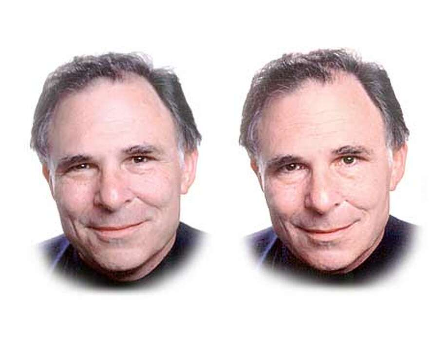 Paul Ekman shows a genuine smile, left, and a false smile, right.
