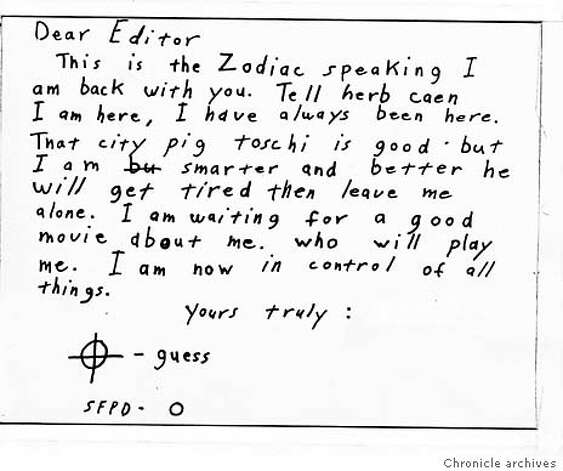 ZODIAC1 - Zodiac Letter sent to the San Francisco Chronice.