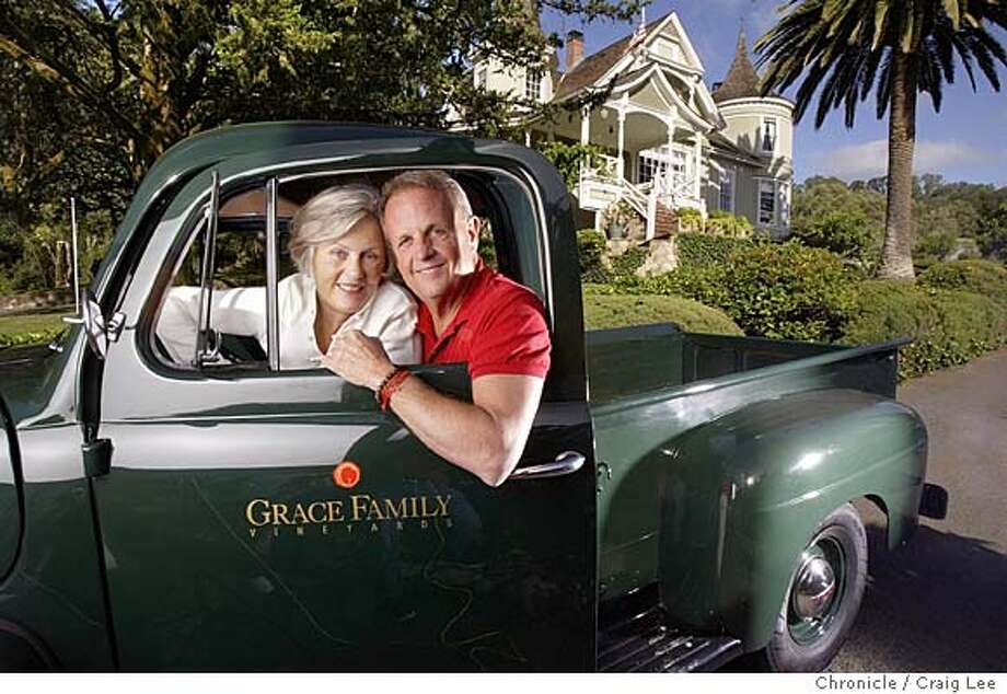 Grace Family Winery in St. Helena. Dick Grace and his wife, Anne Grace in their vintage pickup truck with their 1910 Victorian home in the background.  Event on 5/17/04 in St. Helena. Craig Lee / The Chronicle Photo: Craig Lee