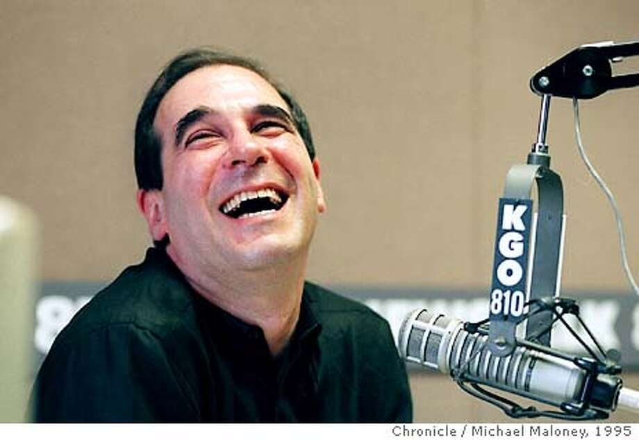 OWENS2/C/27FEB95/DD/Michael Maloney  KGO morning talk show host Ronn Owens shares a laugh with his friend Larry King on the air. King called to welcome Owens back. This was Owens' first day back after a three month contract holdout. Photo: MICHAEL MALONEY