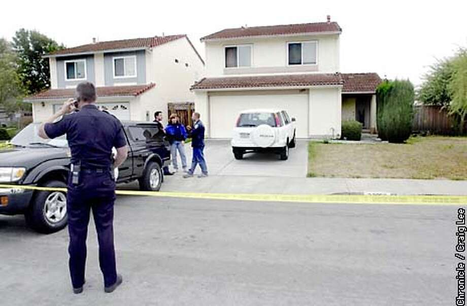 Triple homicide at 33056 Compton Court, a house (on the right with white truck in driveway) in Union City. A woman and two men were found murdered and the house ransacked was discovered last night around 10pm.  Photo by Craig Lee/San Francisco Chronicle Photo: CRAIG LEE