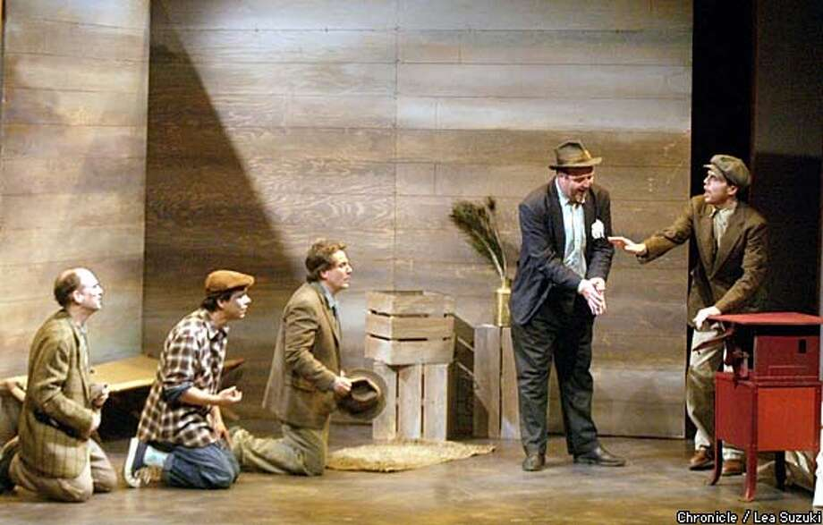 "Adrian Elefnbaum (left), Mathew Chavez, Andrew Hurteau, Brian Russell and Mark Phillips perform a scene from ""Cannery Row,"" at the Magic Theatre. Chronicle photo by Lea Suzuki"