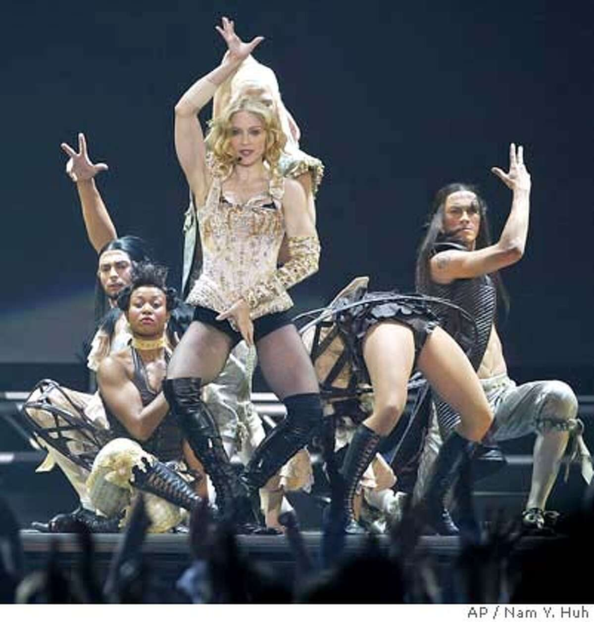 Madonna performs at the Great Western Forum, Monday, May 24, 2004, in Los Angeles. (AP Photo/Nam Y. Huh)