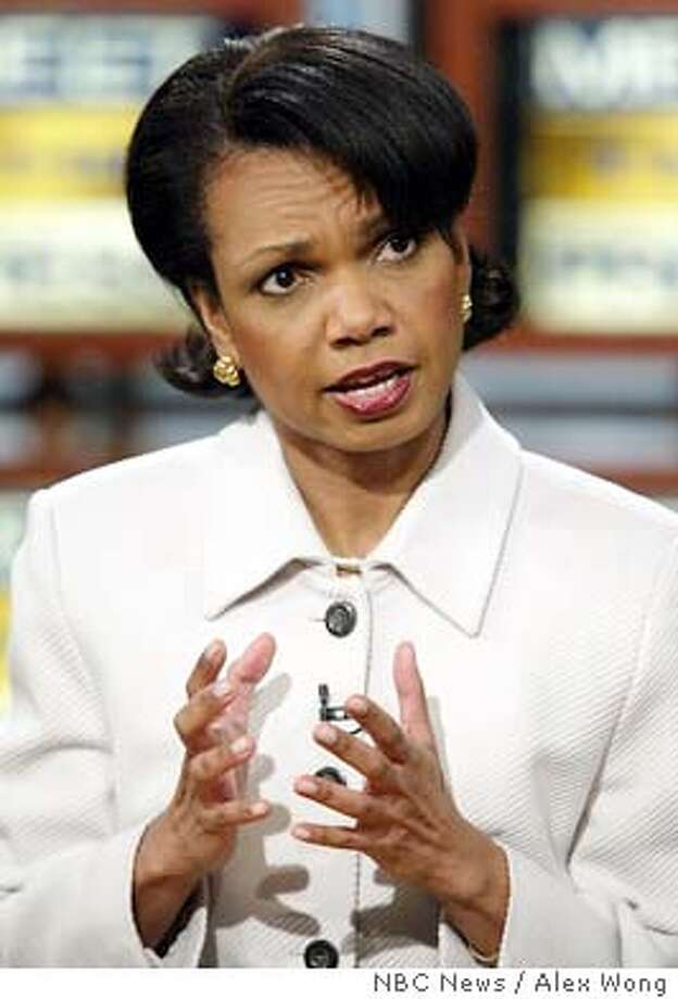 "National Security Advisor Condoleezza Rice speaks on NBC's 'Meet the Press' during a taping Sunday, March 14, 2004, in Washington. (AP Photo/NBC News / Alex Wong, HO) HANDOUT PHOTO NO ARCHIVE BEFORE (MARCH 21, 2004) MUST CREDIT ""MEET THE PRESS"" Condoleezza Rice Condoleezza Rice #######0421673850 Condoleezza Rice Photo: ALEX WONG"